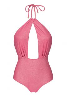 Pink lurex one-piece swimsuit with plunging cut out neckline - RADIANTE ROSA SENSATION