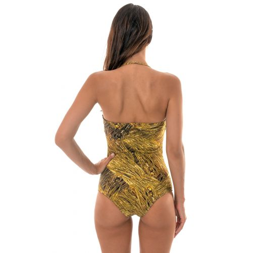 1-piece swimming costume padded bandeau printed in gold - RELUZENTE ONE PIECE