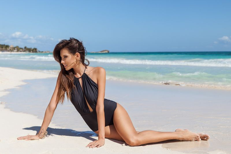 Black 1-piece swimsuit with plunge neckline - RESERVA ONE PIECE