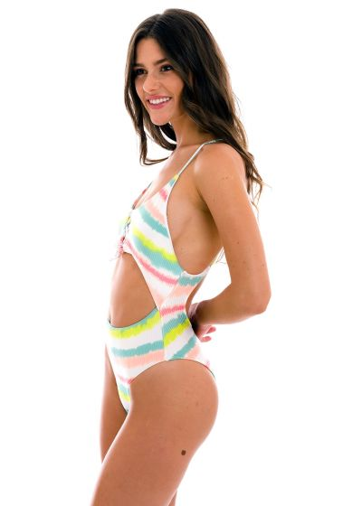 Tie-dye stripes Brazilian one-piece swimsuit with belly cutout - REVELRY IVY STRAP