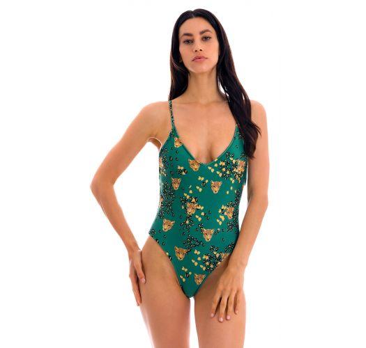 Zielony wysoko wycięty jednoczęściowy kostium kąpielowy w panterkę - ROAR-GREEN HYPE