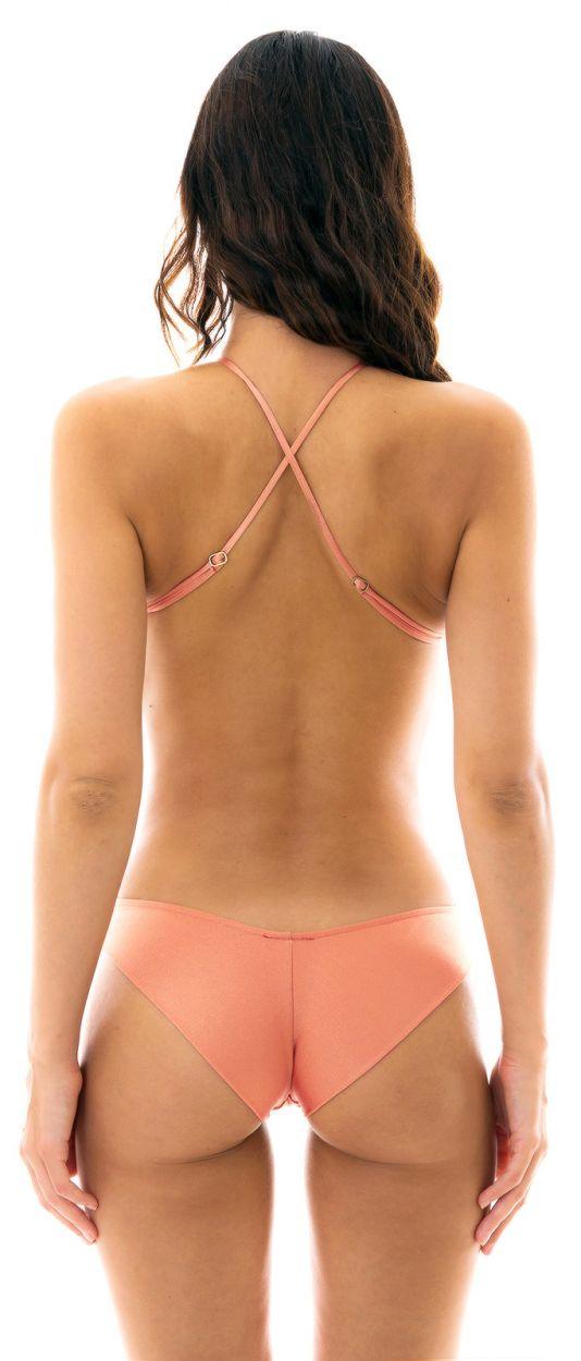 Trikini med hög hals i iriserande persikorosa - ROSE BODY DECOTE