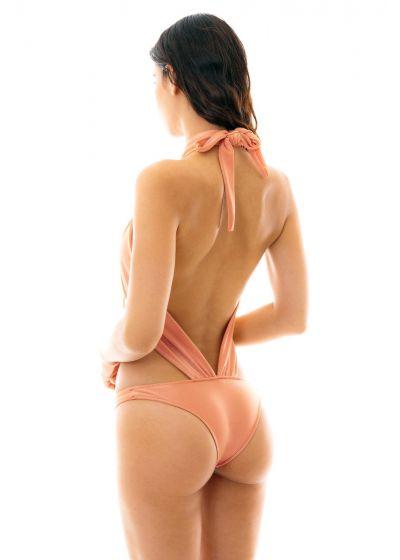 Peach pink 1 piece swimsuit tied around neck - ROSE MAIO