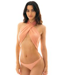 Peach pink 1 piece swimsuit tied around neck - ROSE MAIO