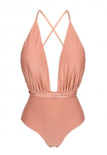 Peach plunging one-piece swimsuit waist-tied - ROSE NEW VEGAS