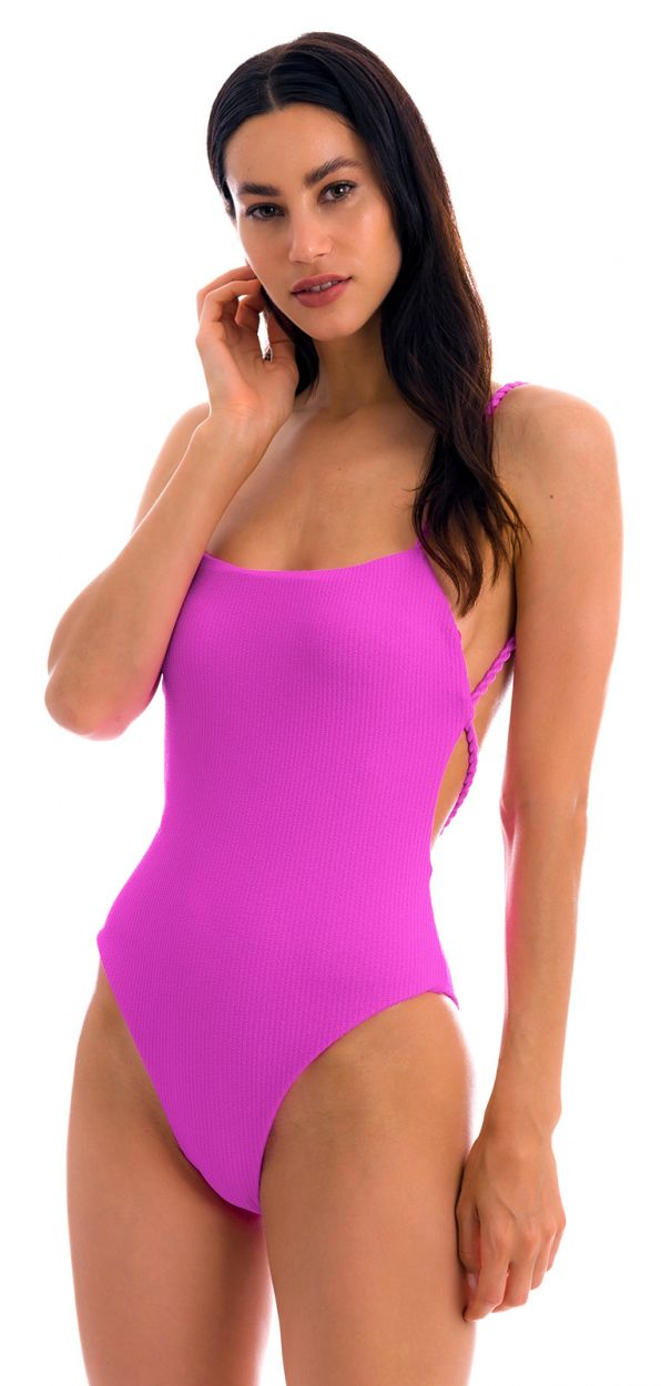 Magenta pink textured 1-piece swimsuit with twisted ties - ST-TROPEZ PINK ELLA