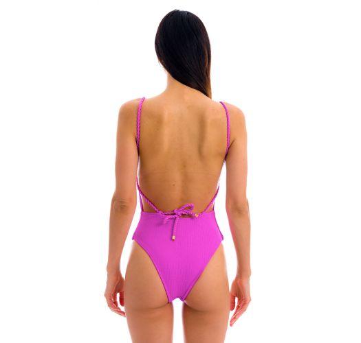 Getextureerd magentaroze badpak met gevlochten schouderbandjes - ST-TROPEZ PINK ELLA