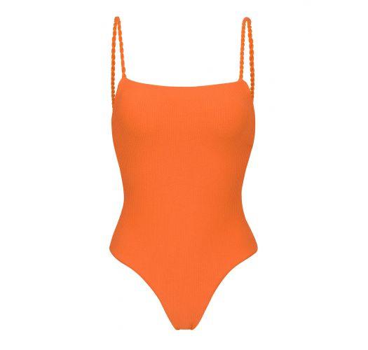 Bañadorde una pieza con relieve en naranja con lazos retorcidos - ST-TROPEZ TANGERINA ELLA