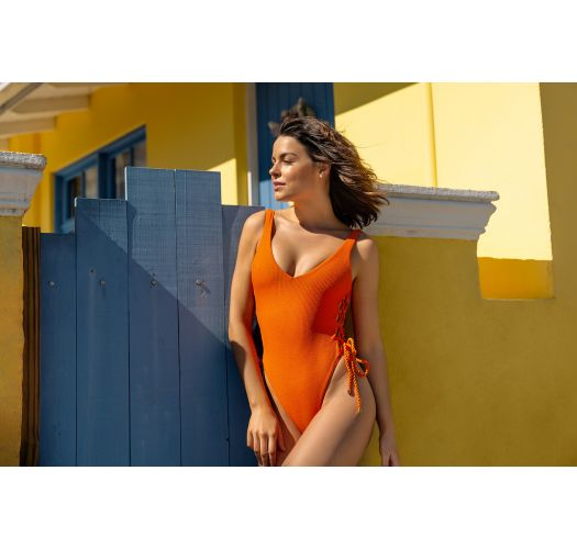 Orange textured thong 1 piece swimsuit with laced sides - ST-TROPEZ TANGERINA ZOE