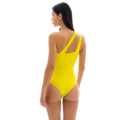 Lemon yellow asymmetric one-piece swimsuit - STREGA ONE SHOULDER
