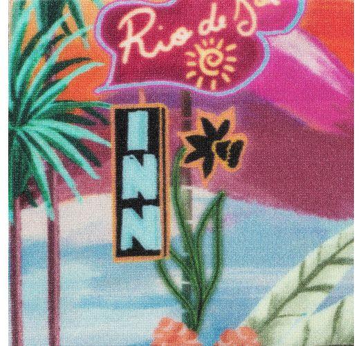 Jednoczęściowy kostium kąpielowy w tropikalnym kolorze ze skręconymi wiązaniami - SUNSET ELLA