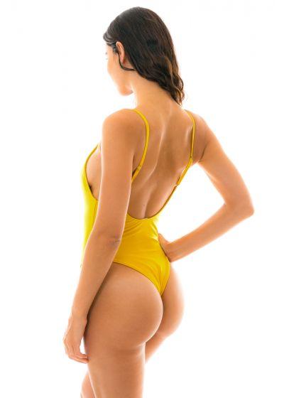 Hel baddräkt med textur i gult - TEMPERO HYPE