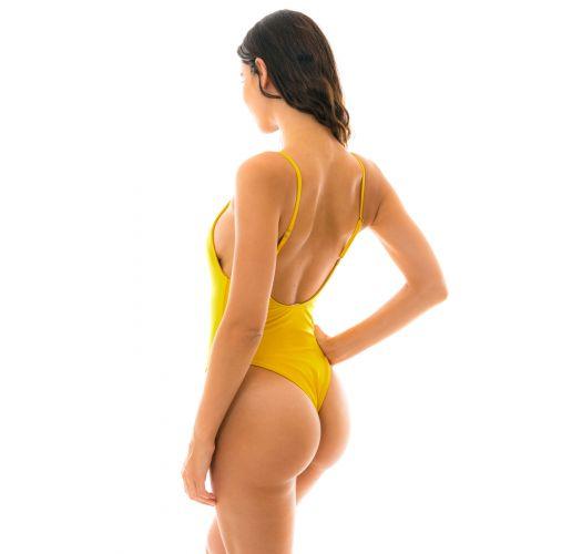 Einteiliger Badeanzug mit gelber Textur - TEMPERO HYPE