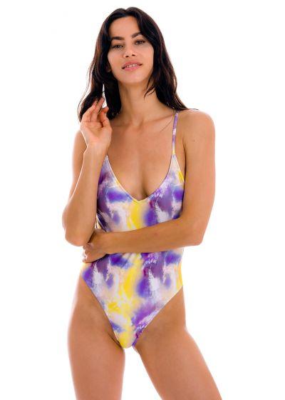 Maillot 1pièce tie dye violet/jaune hanches échancrées - TIEDYE-PURPLE HYPE