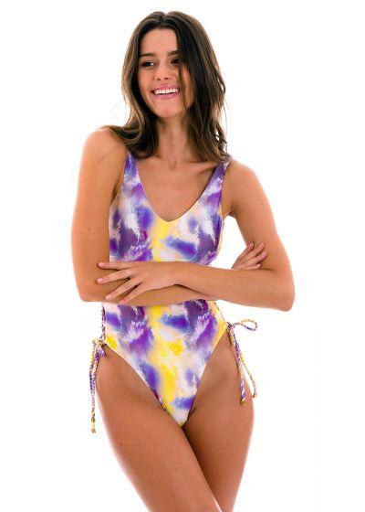 Maillot 1pièce string tie dye violet/jaune côtés lacés - TIEDYE-PURPLE ZOE