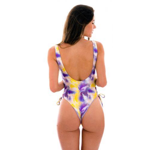 Bañadorde 1 pieza tipo tanga violeta y amarillo con lazos laterales - TIEDYE-PURPLE ZOE