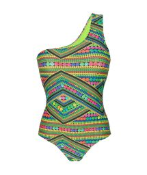 Multicoloured green one-piece asymmetric swimsuit - TRICOTART OMBRO