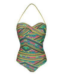 Multicoloured green one-piece bandeau swimsuit - TRICOTART ONE PIECE