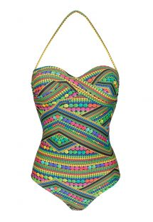 Costume intero a fascia multicolore verde - TRICOTART ONE PIECE
