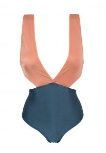 Plunging textured monokini - steel blue / pink peach - TRIKINI  ROSE BLUE