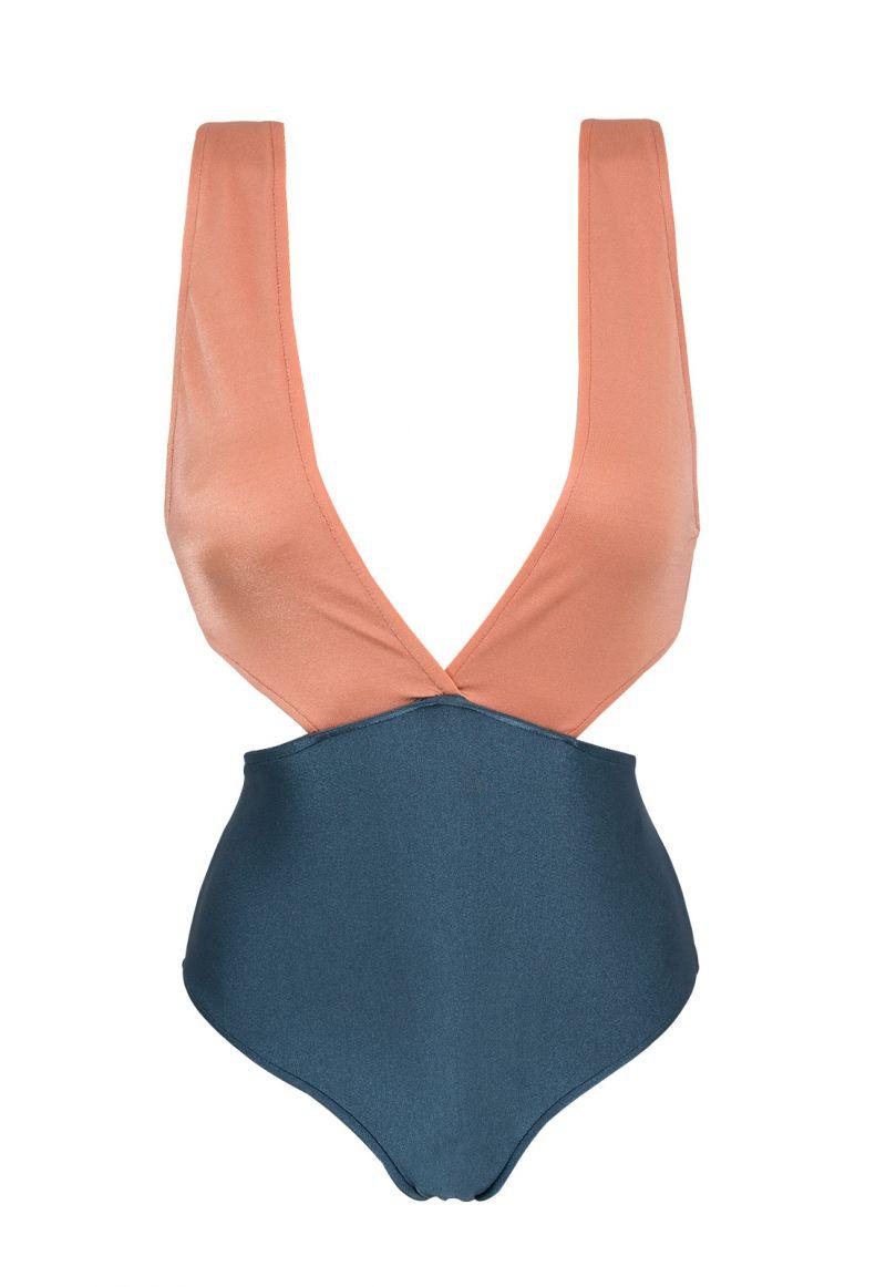 Plunging textured monokini - steel blue / pink peach - TRIKINI  ROSE BLUE