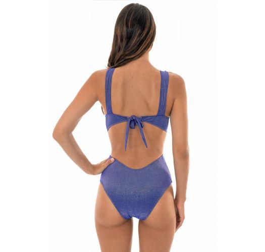 Shiny blue lurex trikini with plunging neckline - TRIQUINI RADIANTE AZUL MARINHO