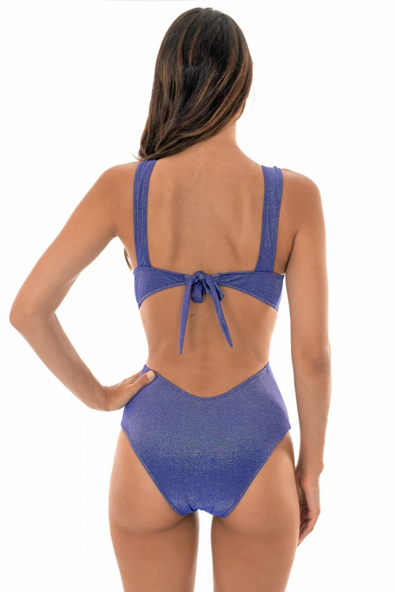 Blå glänsande trikini med djup urringning - TRIQUINI RADIANTE AZUL MARINHO