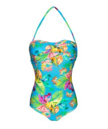 Hel, blommig färggrann baddräkt - TROPICAL BLUE ONE PIECE