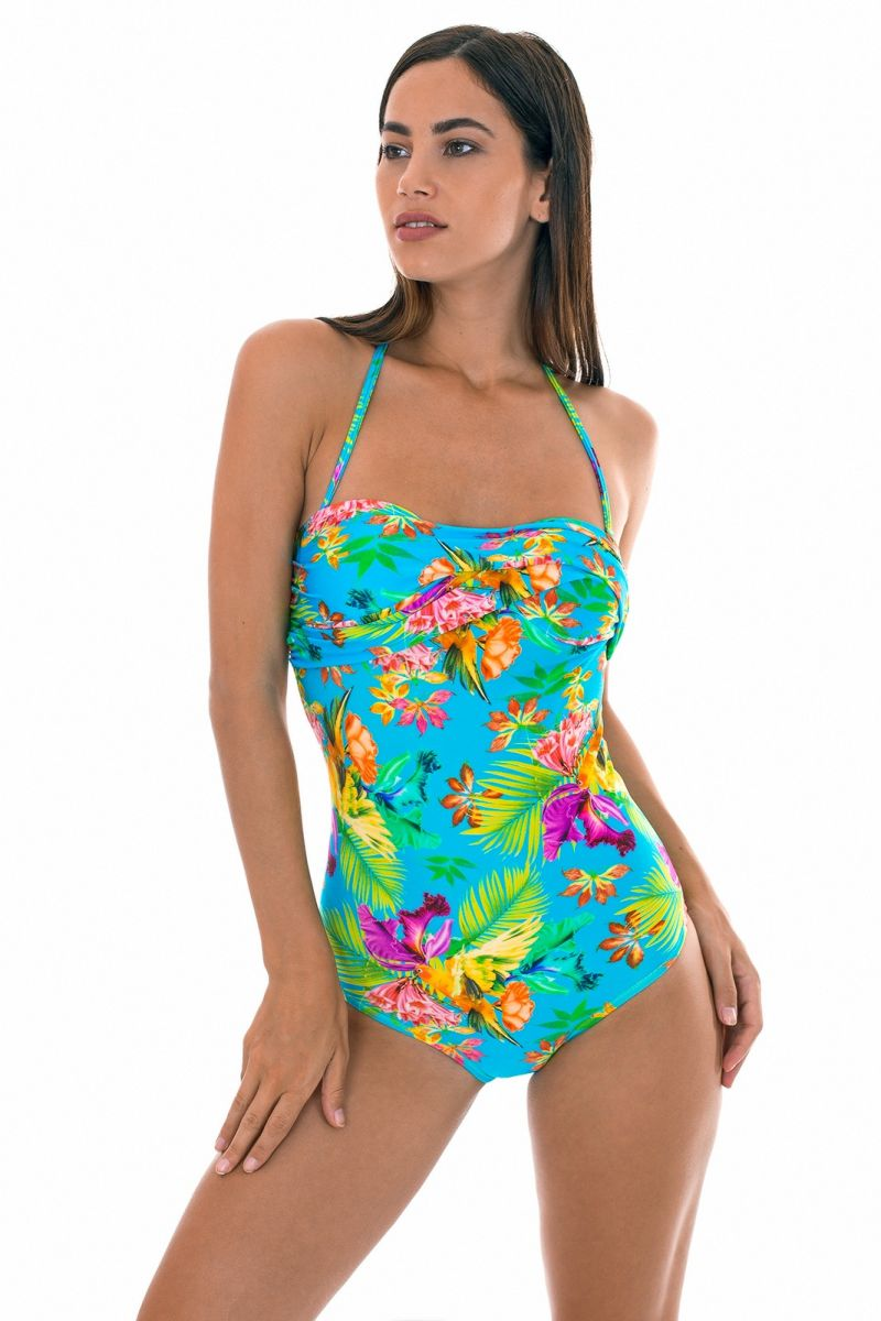 Colourful floral draped bandeau one-piece swimsuit - TROPICAL BLUE ONE PIECE