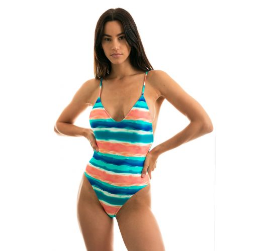 Blue / coral high-leg one-piece swimsuit - UPBEAT HYPE