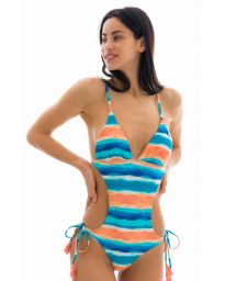 Brazilian monokini in blue and coral pattern - UPBEAT TRIKINI