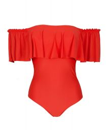Orange-red one-piece bandeau swimsuit with frill - URUCUM MAIO BABADO