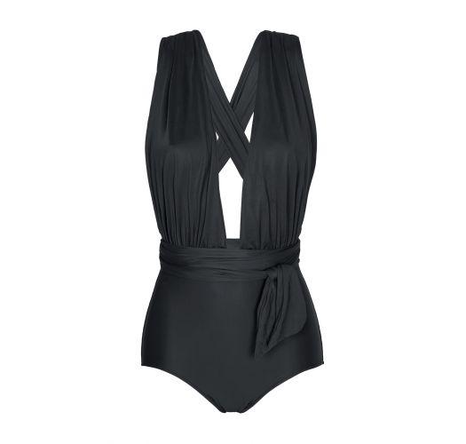 Schicker schwarzer einteiliger Badeanzug mit tiefem Dekolleté - VEGAS BLACK