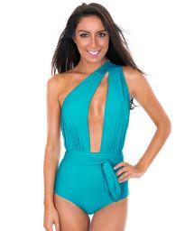 Sky blue swimsuit with multi-position straps - VEGAS NANNAI