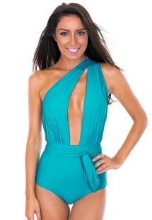 Sky blue swimsuit with multi-position straps - VEGAS NANNAI