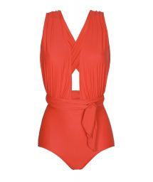 Chic one-piece red swimsuit, plunging neckline - VEGAS URUCUM