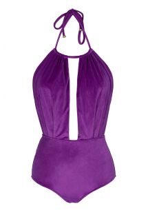 Purple velvet one-piece with deeply plunging neckline - VELVET FUCHSIA BODY