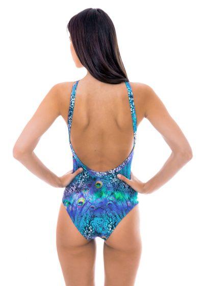One-piece swimsuit high neckline blue pattern- VIOLINA HIGH NECK