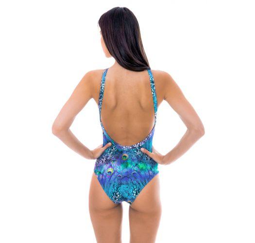 Blaugemusterter hochgeschlossener Badeanzug - VIOLINA HIGH NECK