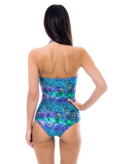 Padded bandeau one-piece swimsuit blue pattern - VIOLINA ONE PIECE
