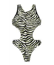 Reversible black & white tabby high neck trikini - WILD-BLACK TWISTED