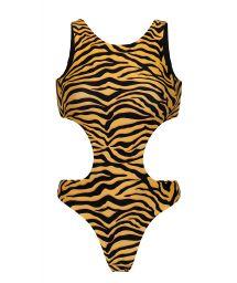 Trikini encolure haute réversible tigré orange/noir - WILD-ORANGE TWISTED