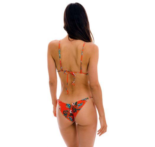 Monokini scrunch rosso brasiliano con lacci laterali con stampa floreale - WILDFLOWERS TRIKINI