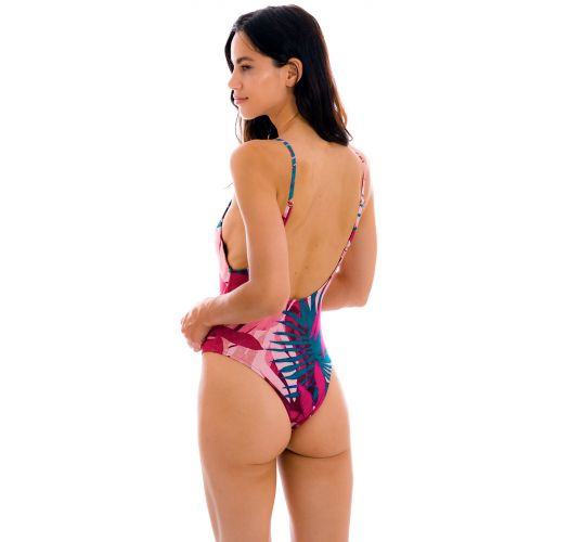 Pink & blue high-leg one-piece swimsuit with leaf print - YUCCA HYPE
