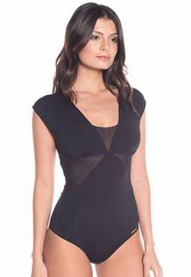 Black one-piece swimsuit with transparent inserts - BLACK NIGHT