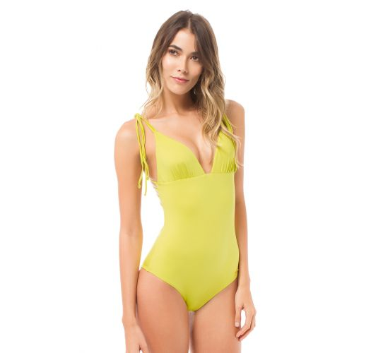 a10ff77862 Lime Yellow One-piece Swimsuit With Strappy Back - Canasta Lemon - Saha