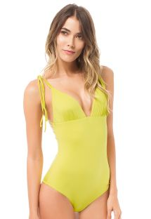 Lime yellow one-piece swimsuit with strappy back - CANASTA LEMON