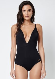 Black one-piece swimsuit with plunging neckline - CHIC STRAPPY