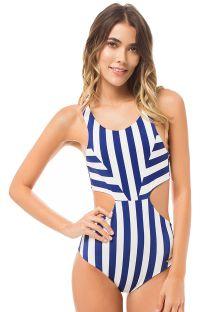 Trikini with navy blue and white stripes - DAGUA NAUTICAL