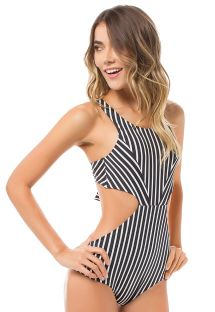 Two-tone black and white striped trikini - DAGUA STRIPES